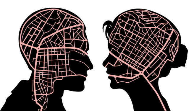 Roadmaps in the minds of a man and woman